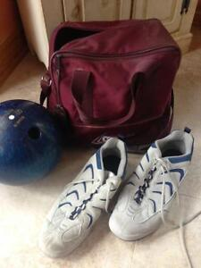 Bowling ball, shoes and bag