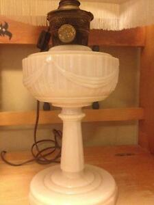 Antique milk glass lamp  bases