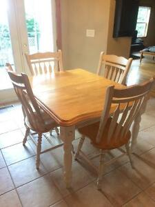 Solid birch kitchen table and chairs