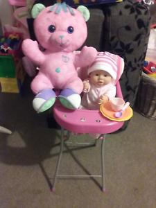 Doll high chair +baby doll +teddy vgc. Meadow Springs Mandurah Area Preview