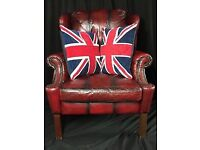 Wonderful Handmade Chesterfield Style Leather Wingback Armchair Oxblood Red