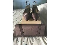 Jacques Vert Silk Taupe Shoes and Bag