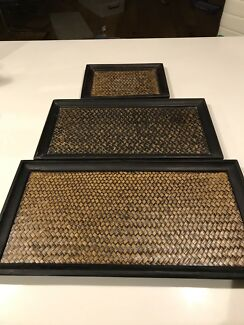 Set of wooden trays