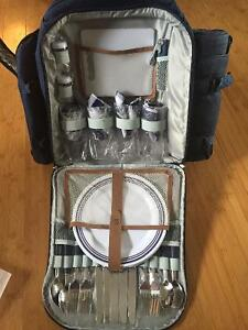 Insulated picnic backpack with dishes. Never used
