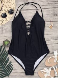 Slimming lacing tie up one piece swimsuit black - size medium