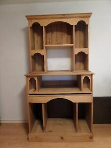 Solid Wood Computer Desk With Storage Shelving