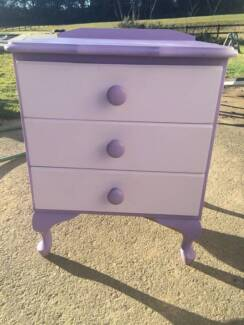Bedside tables - purple and white with pink handles