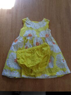 Vibrant yellow size 2 Carters brand dress  & bloomers worn once