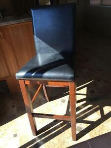 1 Bycast black leather stool, perfect condition