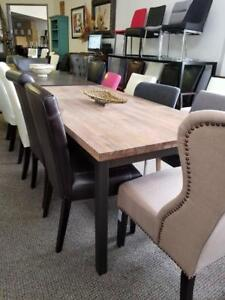 Dining Table in Distress Walnut with Metal Legs on Clearance **Final Sale**