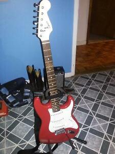 Fender Guitar,Fender amp,stand,case and extras