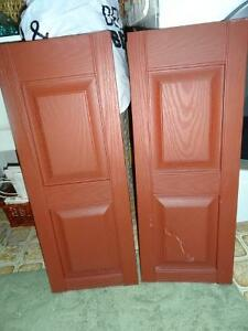 Three pairs of Deep burgundy/rust Shutters for outside windows