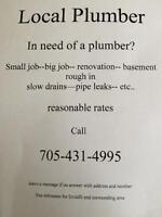 local plumber, very fair prices and free estimates locally