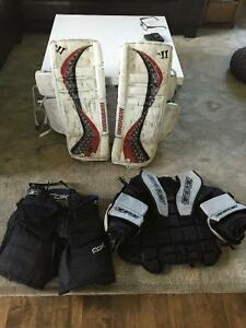 Youth goalie pads, chest protector and pants
