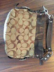 Large Zoe Brown Canvas Hobo Shoulder Bag $80