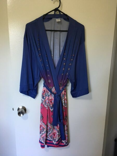 Bras N Things Blue & Pink Dressing Gown Size M | Lingerie ...