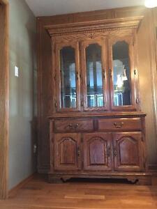Solid Oak China Cabinet & Hutch