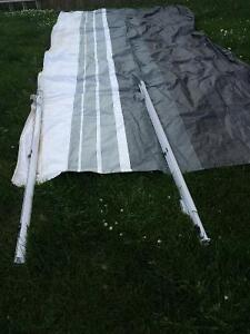 16 foot awning canvas plus 2 susports