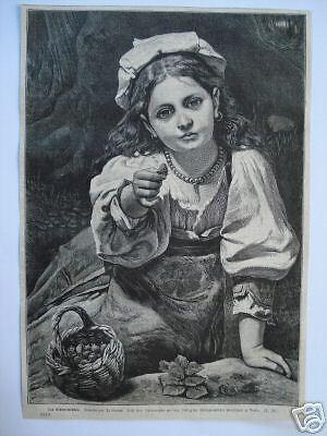 110/Stich 1874 Das Erdbeermädchen.Tracht (Stich Mädchen Kostüm)