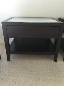 2 Nightstands with drawer - espresso wood with glass top