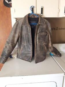 American Eagle faded brown leather jacket