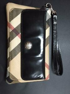 Authentic Burberry Wristlet - Nova Check with Black Leather