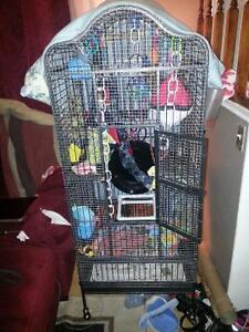 Large cage on wheels with pull out tray