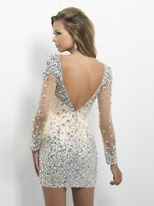 Tight Rhinestone long sleeved Prom dress