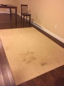 """Beige area rug (74"""" x 108"""")."""