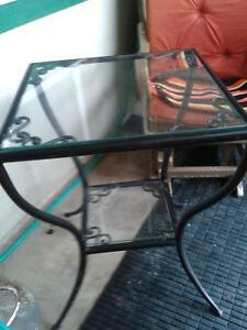 Accent Black Iron Framed Table with Glass top and lower Shelf