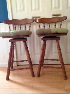 Two solid wood bar stools