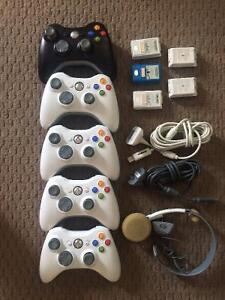 xBox 360 Controllers, Cords, and Headset