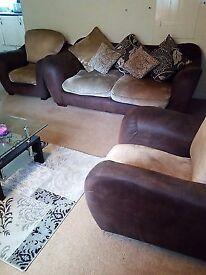 Brown and beige 3 seater sofa and 2 armchairs £119.99 ono