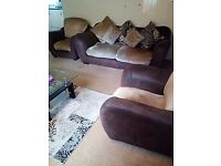 Brown and beige 3 seater sofa and 2 armchairs £99.99 ono