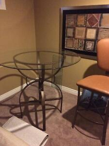 Bar Height Glass Table and 4 Chairs