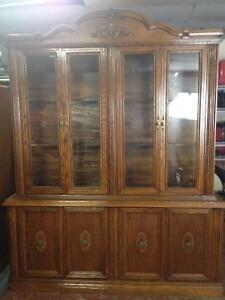 Solid Oak Hutch and matching Table with 6 chairs