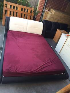 good used black &white leather queen size bed with mattress , can