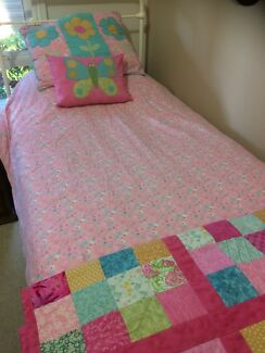 Single duvet with handmade cover, quilt, decorative cushions and throw