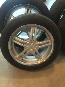 """5x114.3 / 5x100 - 17"""" alloy wheels with near new tires"""
