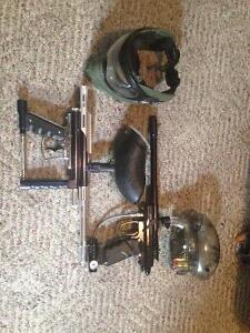 Paintball guns and a mask