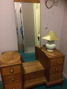 Antique OAK Mirror and dresser for sale