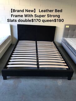 【Brand New】 Leather Bed With Super Strong Slats double$170 queen$190