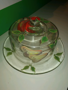 Hand painted Glass bowl and lid Centenary Heights Toowoomba City Preview