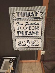"""Pick a seat not a side"" sign - wedding decorations"