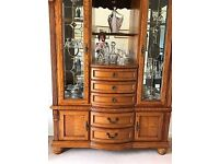 Solid Japanese, varnished oak and glass display cabinet (excluding ornaments)