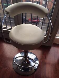 White Leather Bar Adjustable Stool (one stool)