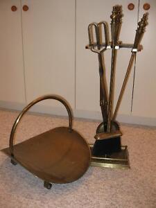 Brass Fireplace Tool Set - 6 pieces