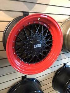 BBS RS REPLICA 15X8 4X100/114.3 ET25 MATTE BLACK W/ RED LIP