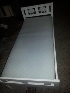TODDLER BED WHITE WITH IKEA MATTRESS - COST $278 SELL $100 G.C.