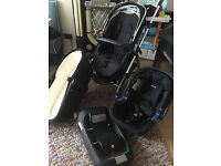 All black silver cross wayfarer pram complete with car seat & isofix base